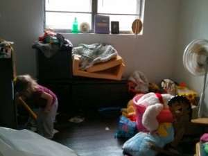 "A messy kid room that HopeMatch volunteers will transform into a playroom under ""Mini Room Makeover"" project"